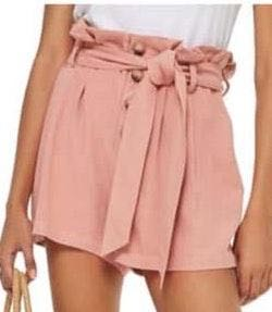 Topshop Linen Button Paperbag Shorts