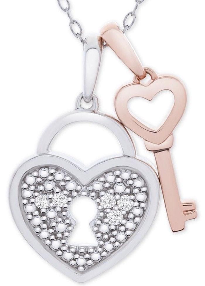 "Macy's Diamond Accent Heart Lock & Key 18"" Necklace"