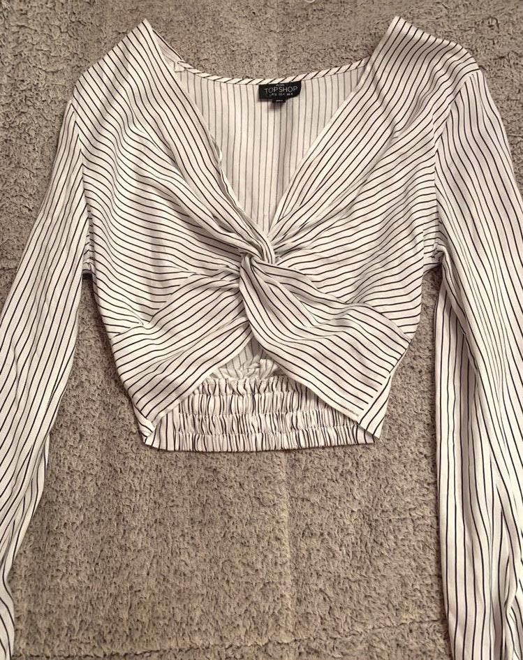 Topshop Long Sleeve White Striped Crop Top