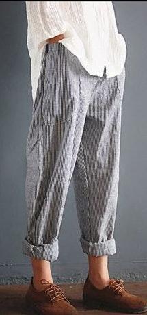 Boutique Cotton Striped Boyfriend Pant...