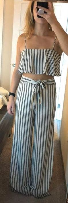 American Threads Black And White Striped set