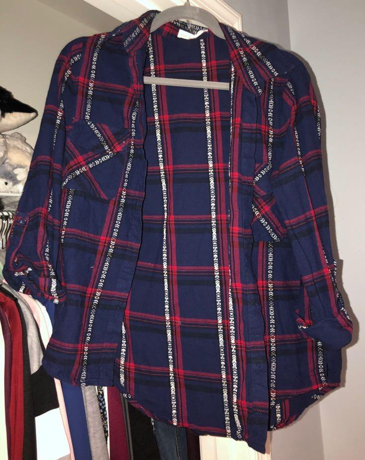 Love Tree Navy Blue And Red Flannel