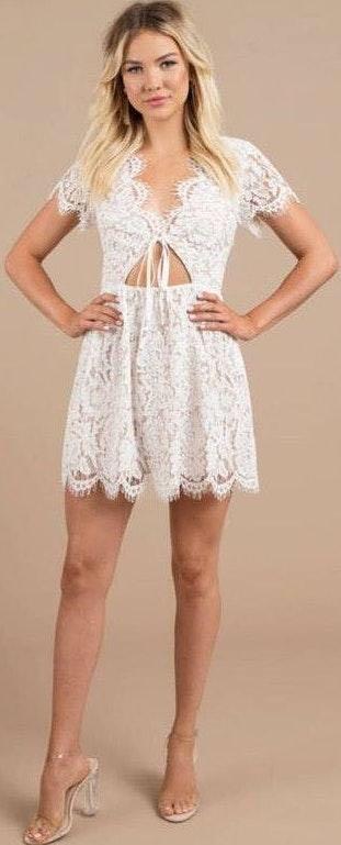 Tobi White Lace Cocktail Dress