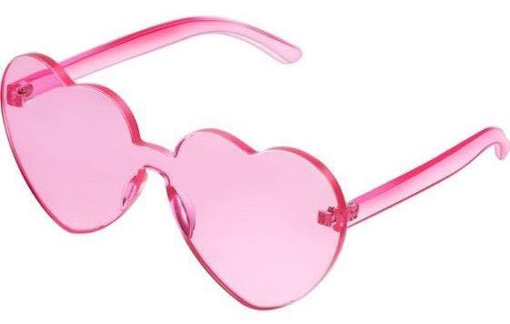 Pink Heart Acrylic Sunglasses