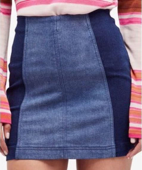 Free People Two Toned Jean Skirt