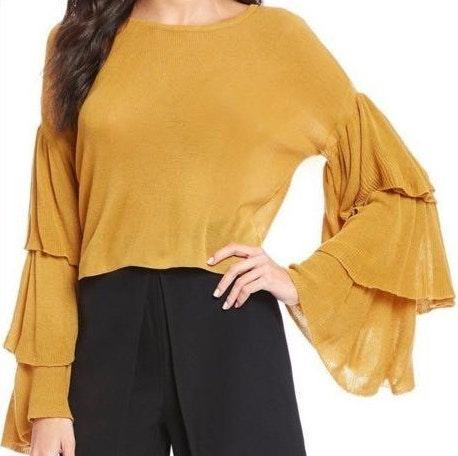 Gianni Bini Mustard Yellow Ruffle Sleeve Crop Sweater