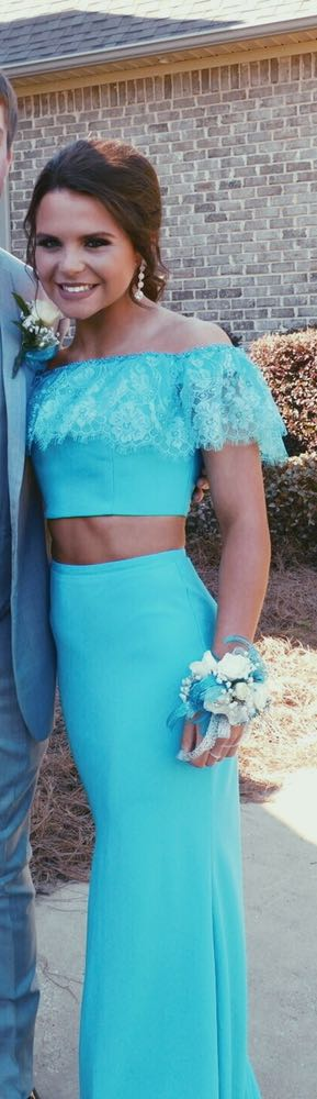 Madison James Two Piece Teal Lace Prom Dress