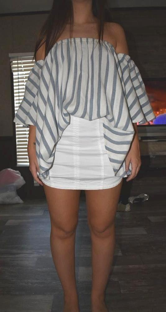 Boutique light blue and white shirt