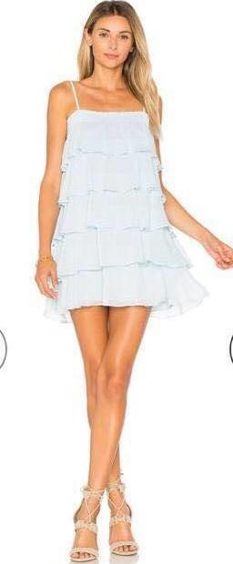 Lovers + Friends Blue Ruffle Dress