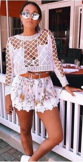LF Floral Lace Shorts