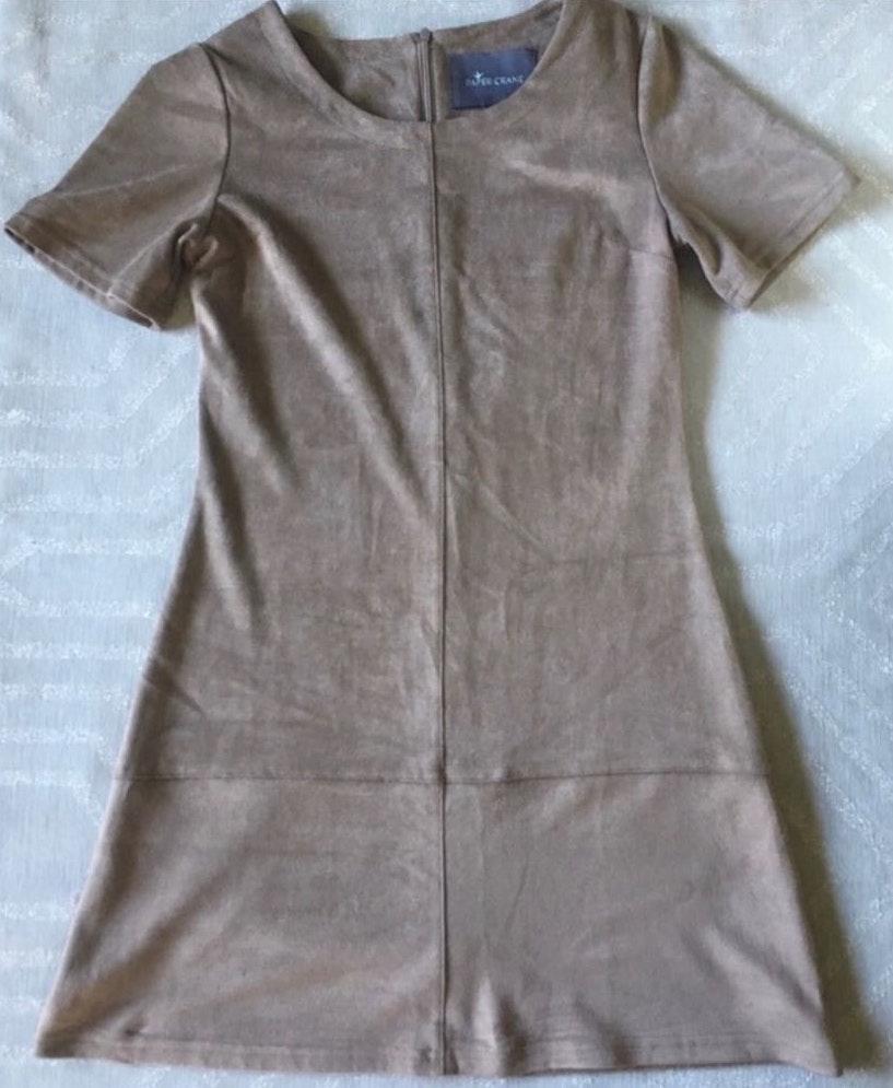 Paper Crane Anthropologie Brown Faux Suede Dress