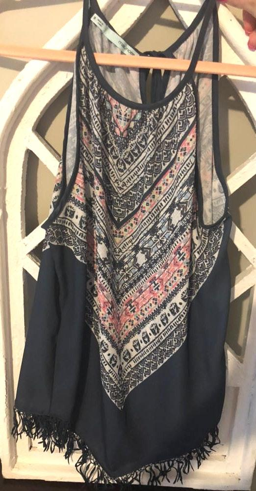 Maurice's Tribal Print Tank Top With Fringe