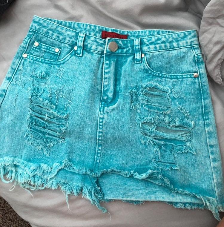 Aqua Jean Skirt