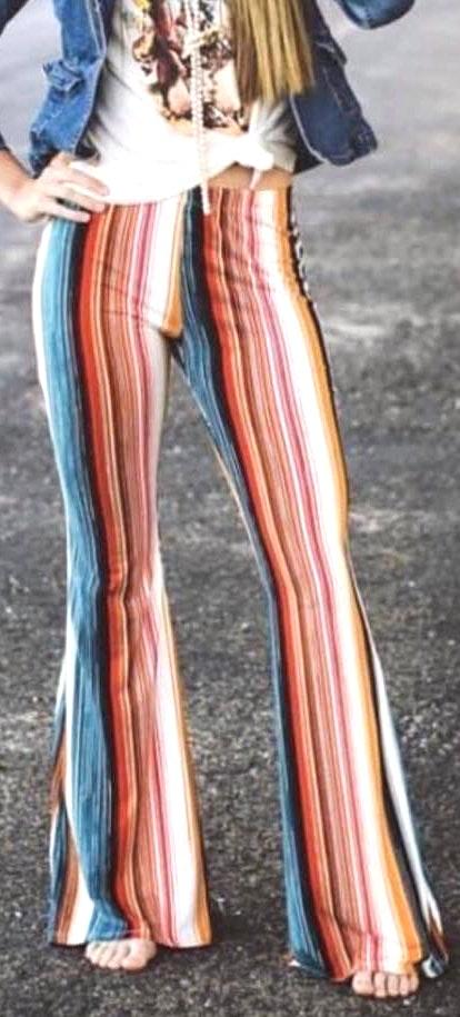 Red Dress Boutique Striped Colorful Flare Pants