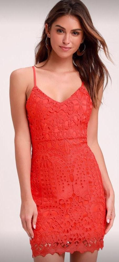 Lulus Red Orange Lace Floral Dress