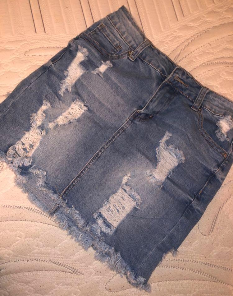 Fashion Nova NEW distressed jean skirt!