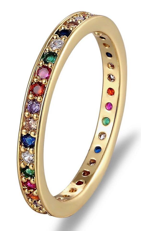 Beverly Hills Boutique Rainbow Eternity Ring Dipped In Gold...