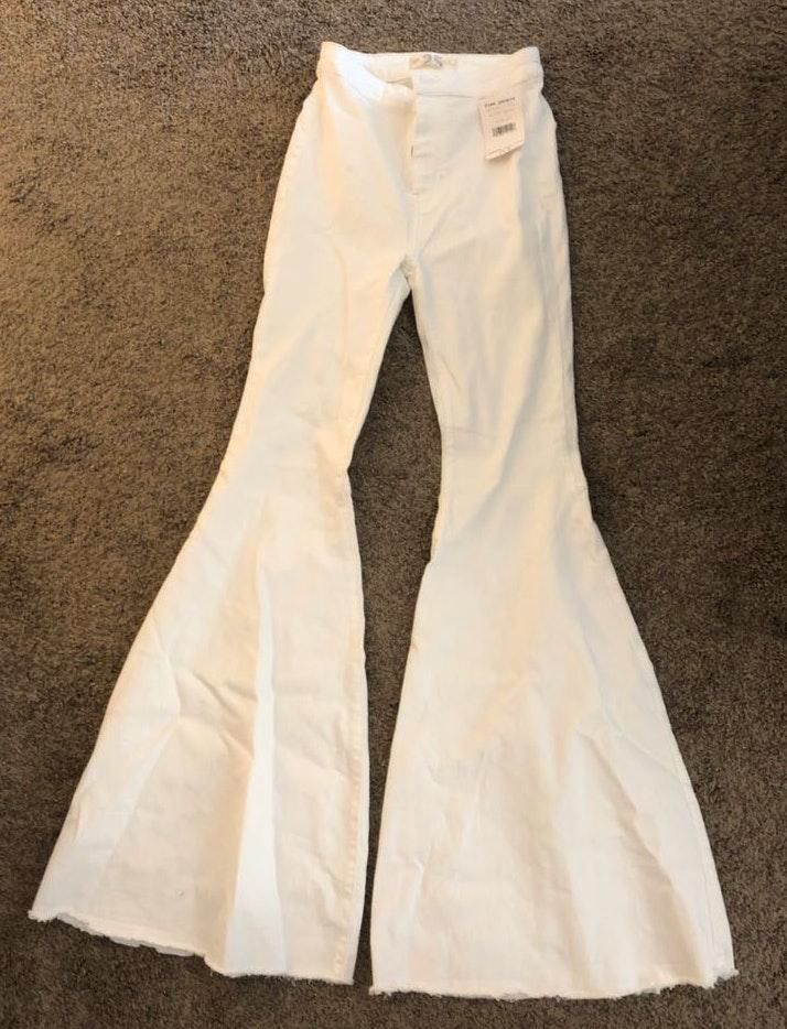 Free People Winter White Flare Jeans