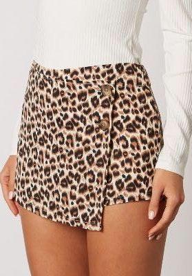 Leopard Side Button Skort