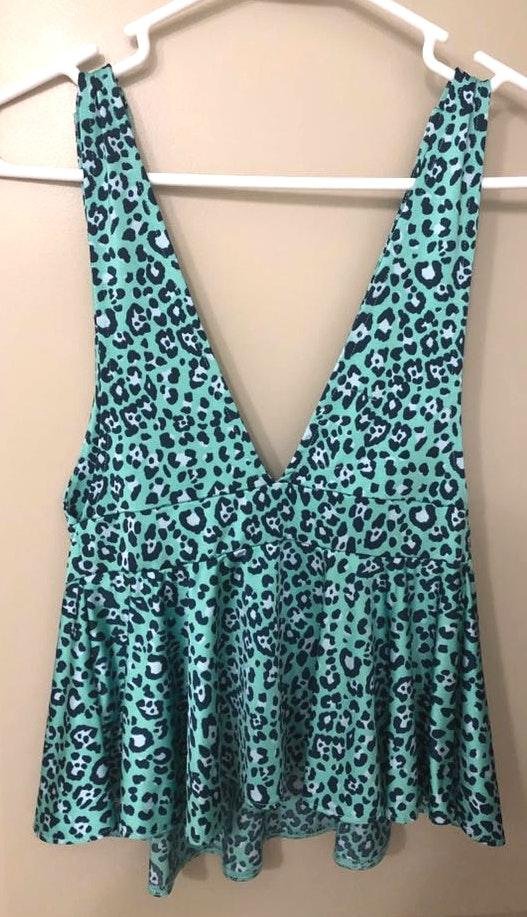 Urban Outfitters Deep V Neck Green Leopard Print Top