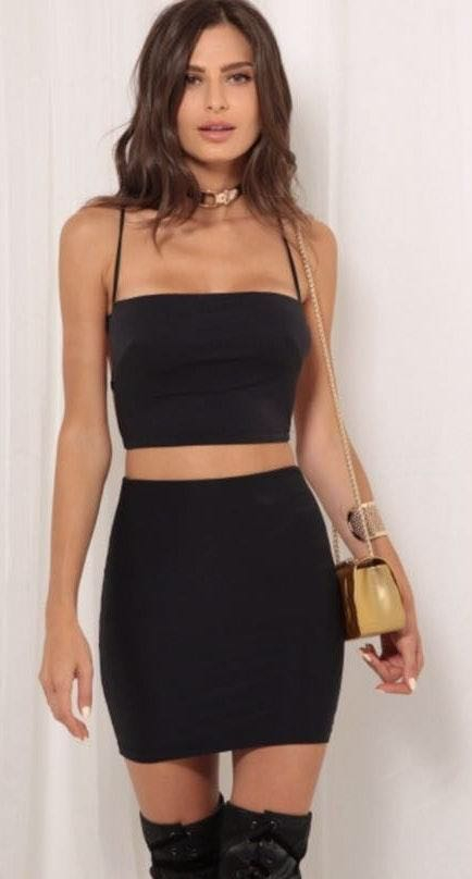 Lucy in the Sky Black Two Piece Set