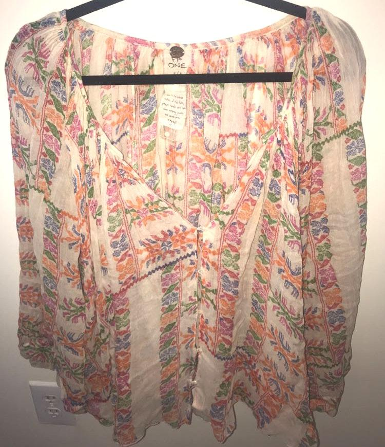 Free People Multicolored Blouse Style Shirt