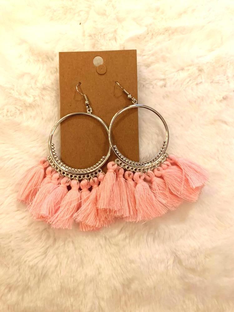 Light Pink Tassel Boho Earrings