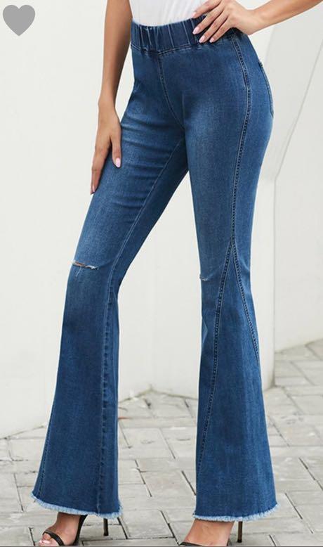 High Waisted Bell Bottom Jean Pants