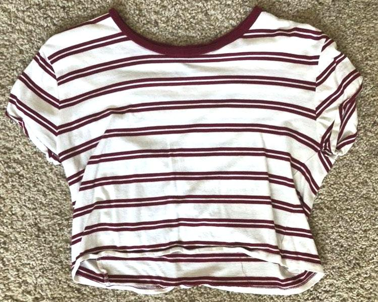 Rue 21 Striped Cropped Maroon And White Shirt