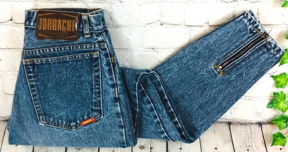 Jordache Vintage   High Rise Acid Wash Tapered Zipper Jeans