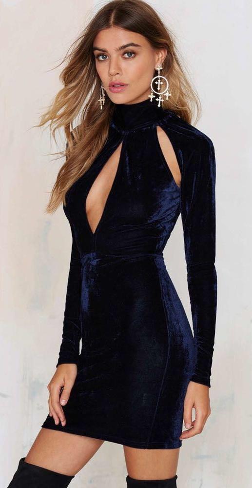 e3c6340dbd21 Nasty Gal Velvet Cutout Semi Formal Dress