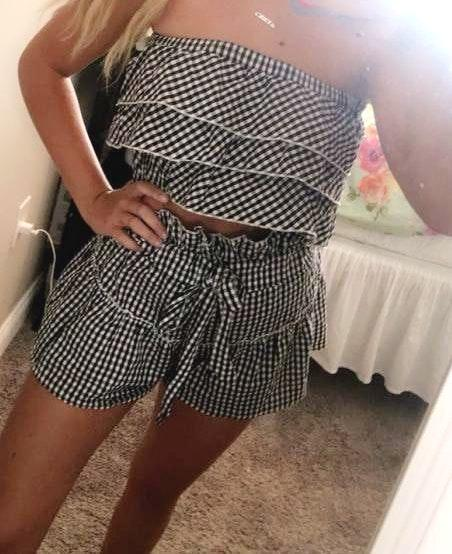Pink Lily Gingham Two Piece Set