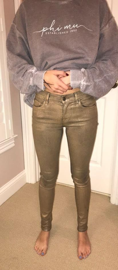 7 For All Mankind Gold Coated Skinny Jeans