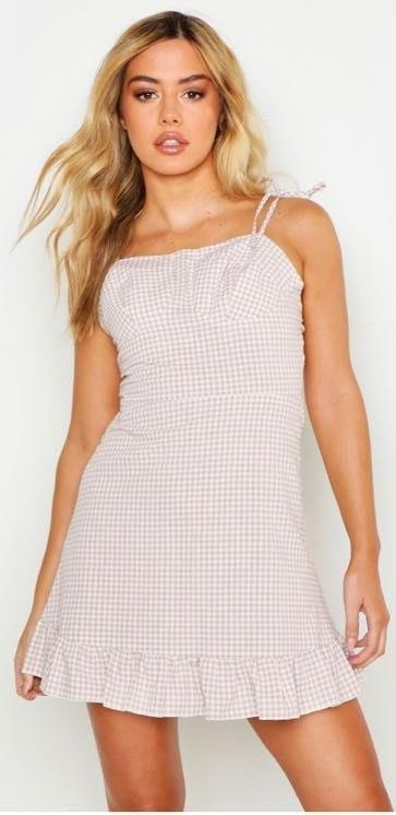 Free People Tan And White Gingham Dress