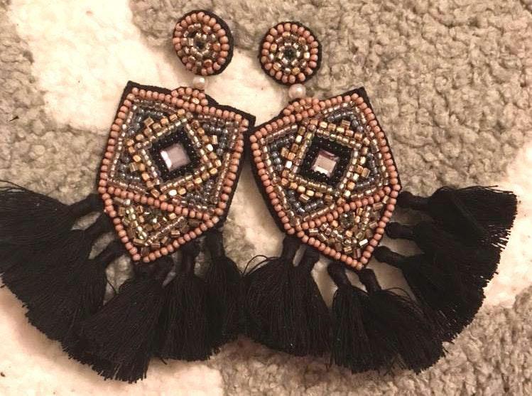 Boutique Black Beaded Tassel Earrings