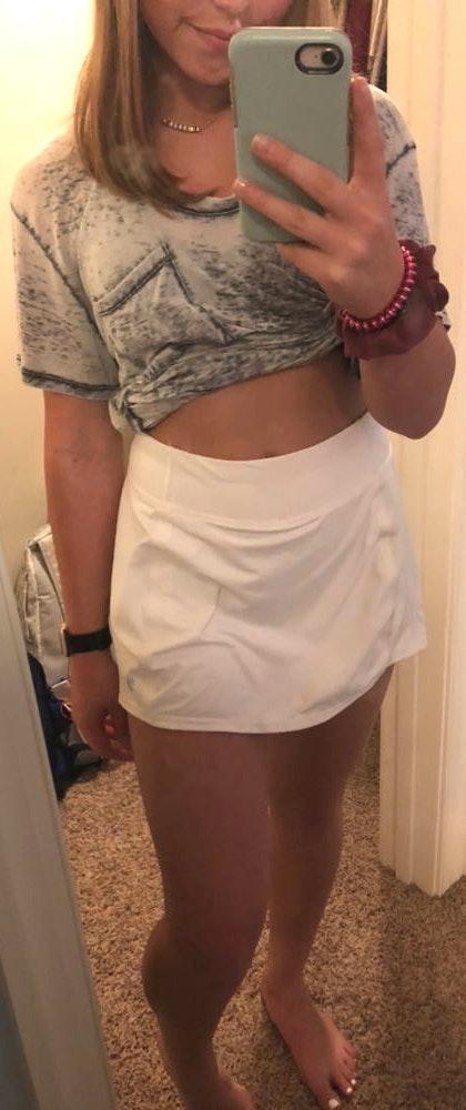 Athleta white ruffled tennis skirt