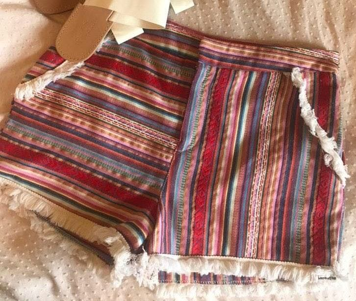 Tea & Cup Boho Shorts With Fringe