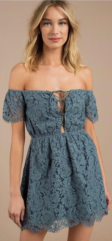 Tobi Teal Lace Dress