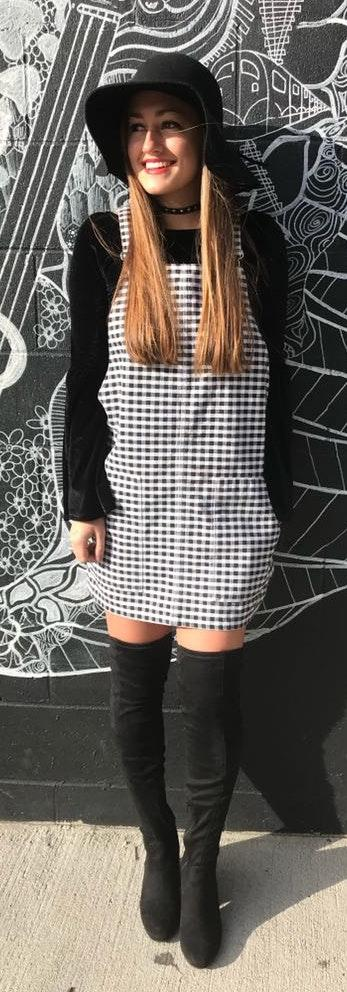Topshop Black & White Checked Overall Dress