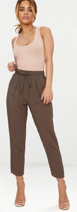 Pretty Little Thing petite khaki casual trousers