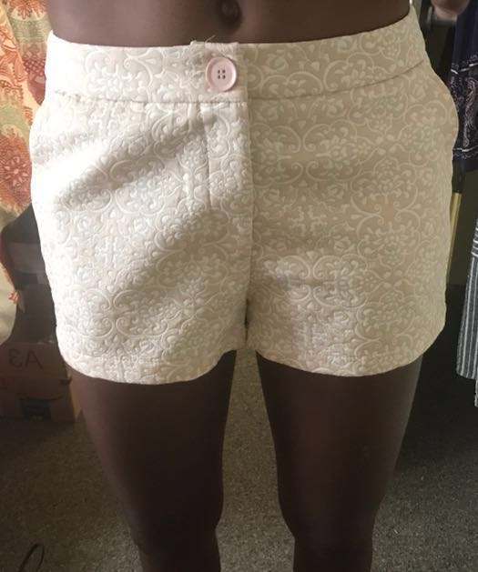 Cream Patterned Shorts