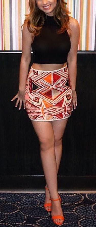 Topshop Embroidered Tribal Mini Skirt